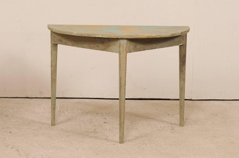 Pair of 19th Century Swedish Demilune Tables w/ Fun Star Painted Tops In Good Condition For Sale In Atlanta, GA