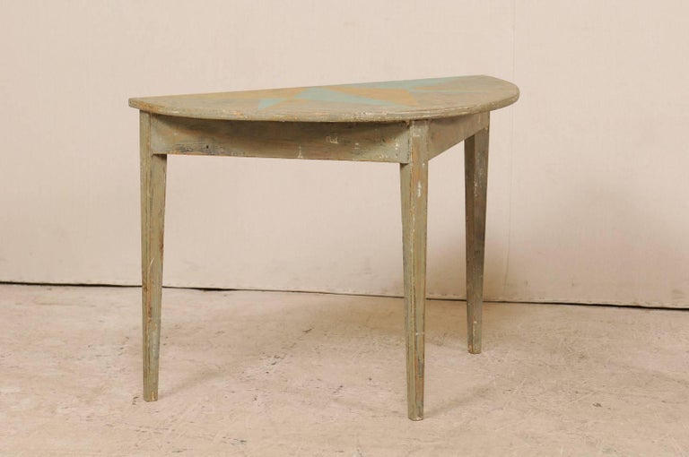 Carved Pair of 19th Century Swedish Demilune Tables w/ Fun Star Painted Tops For Sale