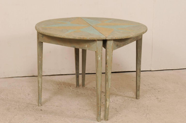 Pair of 19th Century Swedish Demilune Tables w/ Fun Star Painted Tops For Sale 2