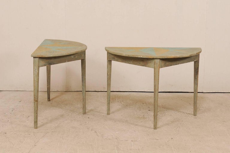 Wood Pair of 19th Century Swedish Demilune Tables w/ Fun Star Painted Tops For Sale