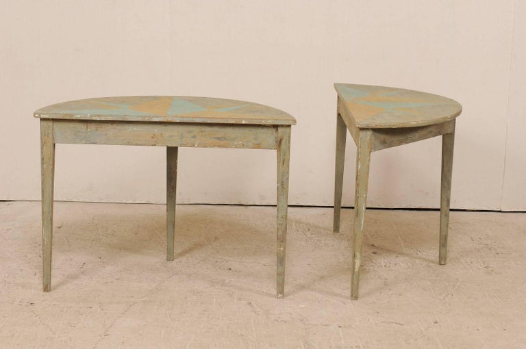 Pair of 19th Century Swedish Demilune Tables w/ Fun Star Painted Tops For Sale 1