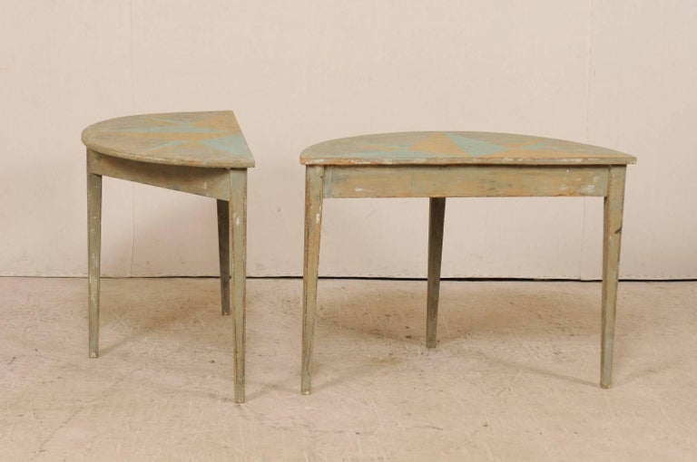 Pair of 19th Century Swedish Demilune Tables w/ Fun Star Painted Tops For Sale 4