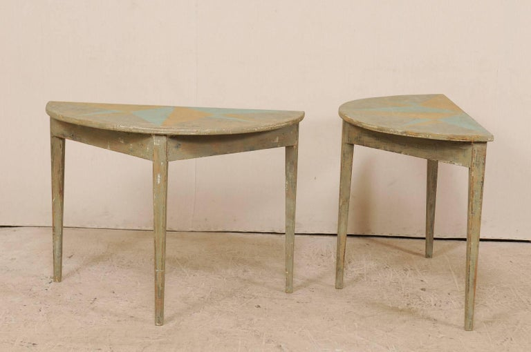 Pair of 19th Century Swedish Demilune Tables w/ Fun Star Painted Tops For Sale 5