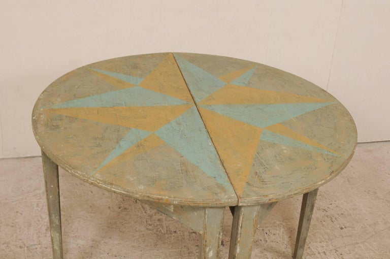 Pair of 19th Century Swedish Demilune Tables w/ Fun Star Painted Tops For Sale 3