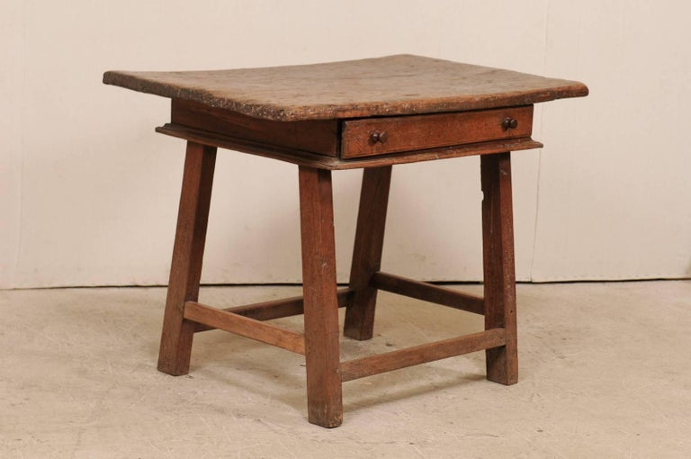 Carved 18th Century Brazilian Peroba Tropical Wood Side Table with Single Drawer For Sale