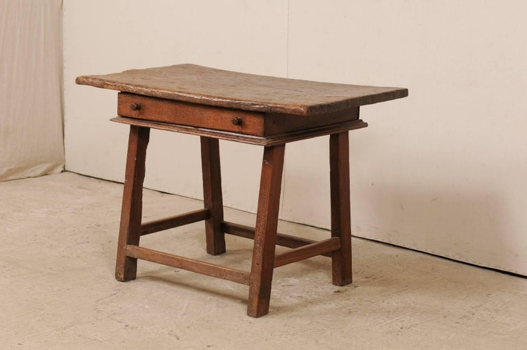 18th Century Brazilian Peroba Tropical Wood Side Table with Single Drawer In Good Condition For Sale In Atlanta, GA