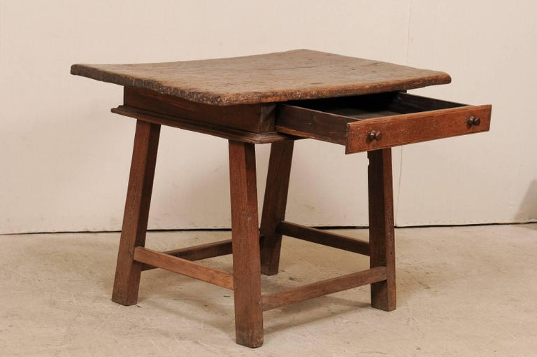 18th Century and Earlier 18th Century Brazilian Peroba Tropical Wood Side Table with Single Drawer For Sale