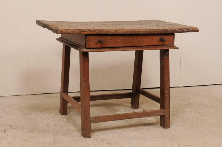 Rustic 18th Century Brazilian Peroba Tropical Wood Side Table with Single Drawer For Sale