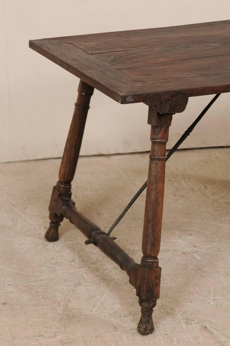Carved Antique Italian Wood and Iron Stretchered Table or Desk from Late 18th Century For Sale