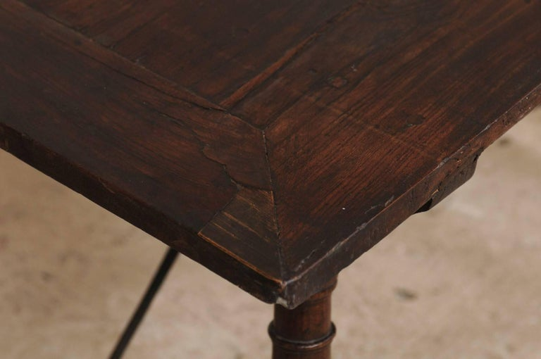 Antique Italian Wood and Iron Stretchered Table or Desk from Late 18th Century For Sale 3