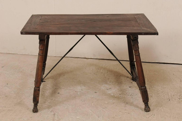 Antique Italian Wood and Iron Stretchered Table or Desk from Late 18th Century In Good Condition For Sale In Atlanta, GA