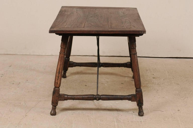 Antique Italian Wood and Iron Stretchered Table or Desk from Late 18th Century For Sale 1