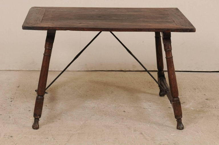 Antique Italian Wood and Iron Stretchered Table or Desk from Late 18th Century For Sale 2