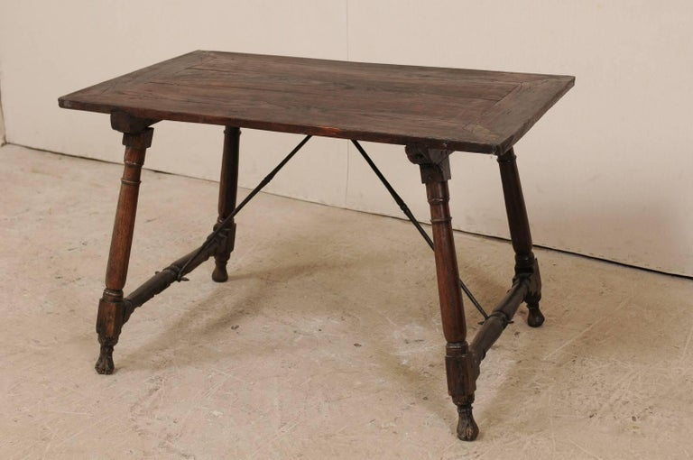 Metal Antique Italian Wood and Iron Stretchered Table or Desk from Late 18th Century For Sale