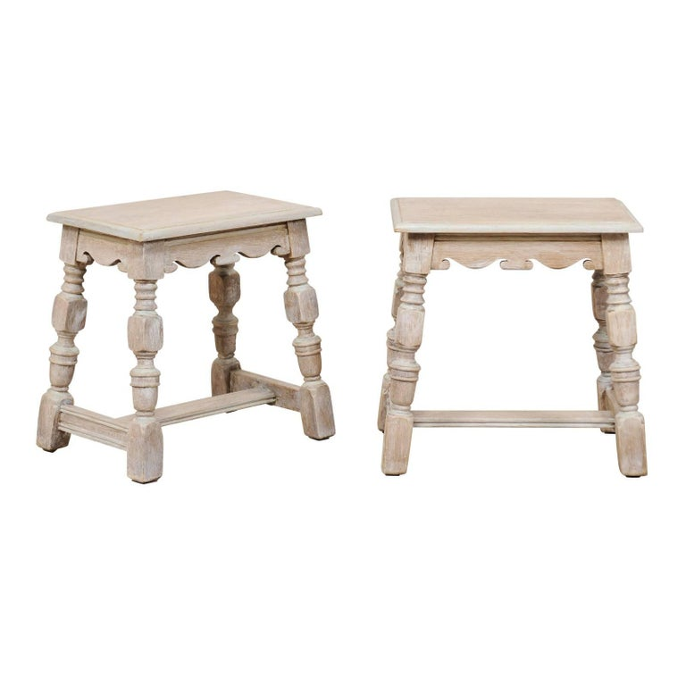 Pair of French Carved and Painted Soft Grey Wood Stools, Late 19th Century