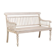 British Colonial Painted and Carved Teak Wood Neutral Grey Bench from India