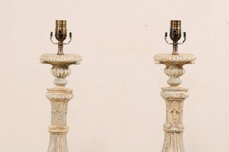 Wood Pair of Italian Style Hand-Carved and Painted Tall Candlestick Table Lamps For Sale