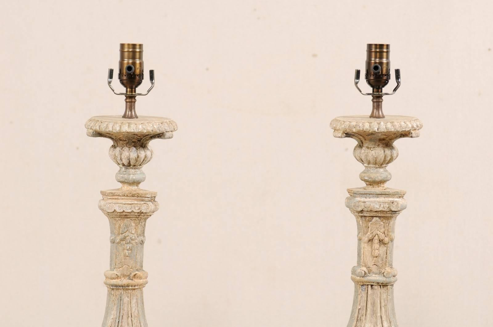 Awesome Metal Pair Of Italian Style Hand Carved And Painted Tall Candlestick Table  Lamps For Sale