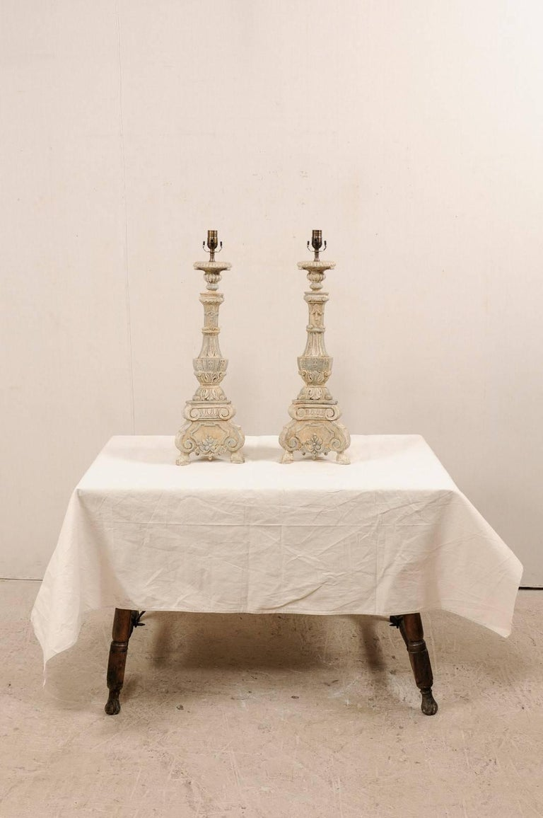 Contemporary Pair of Italian Style Hand-Carved and Painted Tall Candlestick Table Lamps For Sale