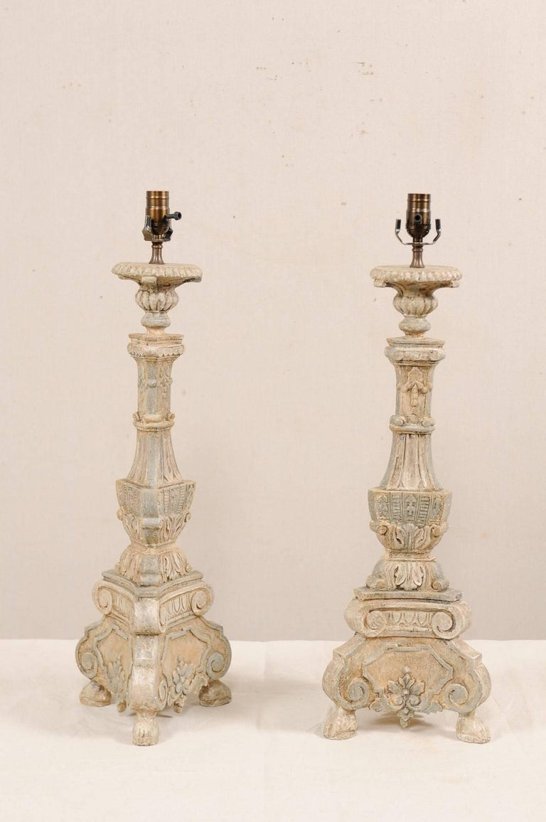 Indonesian Pair of Italian Style Hand-Carved and Painted Tall Candlestick Table Lamps For Sale