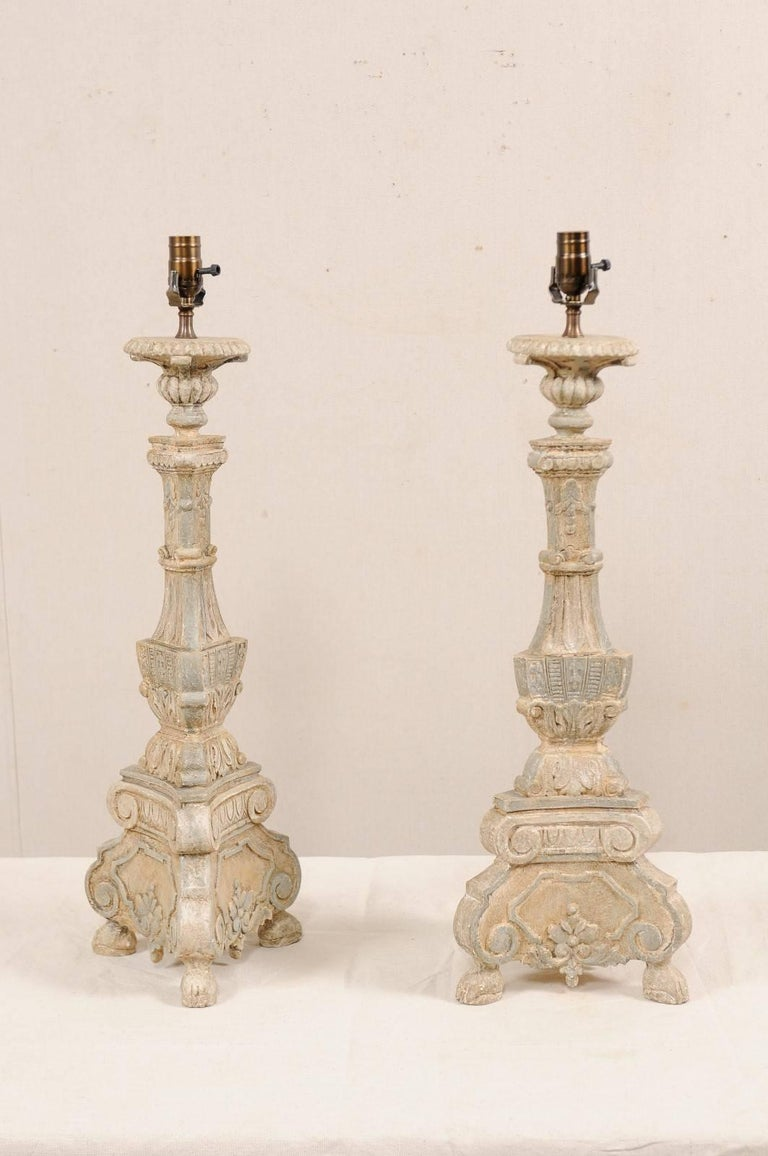 Pair of Italian Style Hand-Carved and Painted Tall Candlestick Table Lamps In Good Condition For Sale In Atlanta, GA