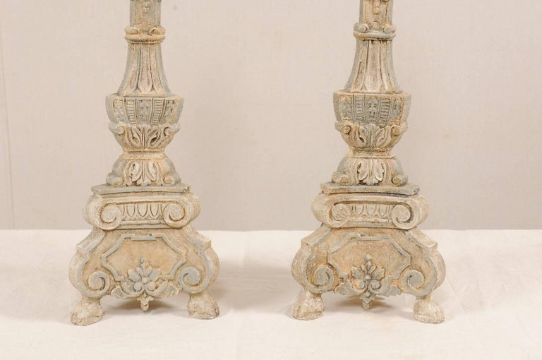 Pair of Italian Style Hand-Carved and Painted Tall Candlestick Table Lamps For Sale 1