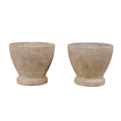 Pair of French Midcentury Cast Stone Round Planters in Natural Grey Hues