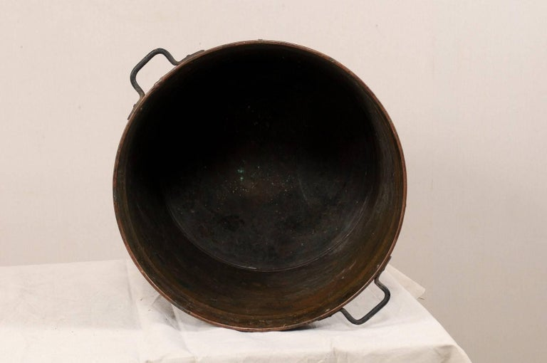 Vintage French Large Copper Kitchen Pot with Handles, Spout and Lovely Patina For Sale 2