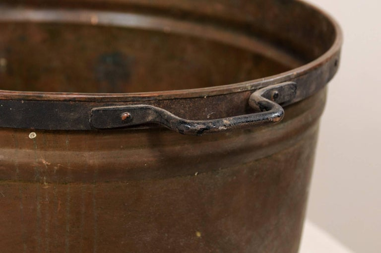 Metal Vintage French Large Copper Kitchen Pot with Handles, Spout and Lovely Patina For Sale