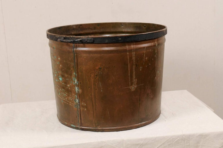 20th Century Vintage French Large Copper Kitchen Pot with Handles, Spout and Lovely Patina For Sale