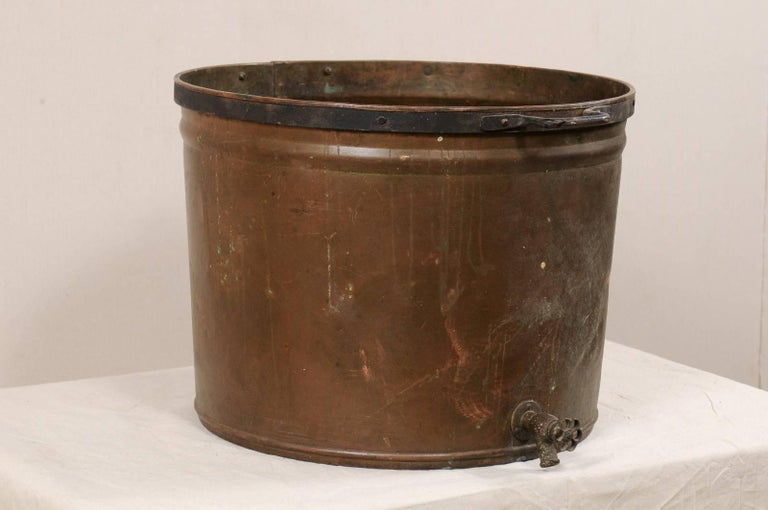 Patinated Vintage French Large Copper Kitchen Pot with Handles, Spout and Lovely Patina For Sale
