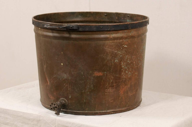 Country Vintage French Large Copper Kitchen Pot with Handles, Spout and Lovely Patina For Sale