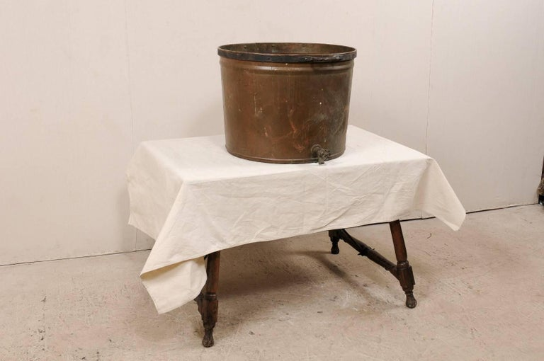 Vintage French Large Copper Kitchen Pot with Handles, Spout and Lovely Patina In Good Condition For Sale In Atlanta, GA