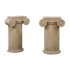 Pair of Vintage Carved Wood Ionic Fluted Column Pedestals with Neutral Finish