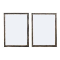 Pair of French Midcentury Vintage Painted Wood Mirrors in Nice Grey Hues