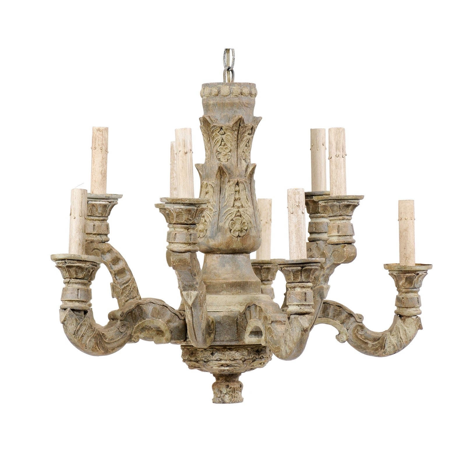 A French Vintage Ten-Light Carved and Painted Wood Soft Grey Chandelier