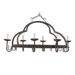 French Mid-20th Century Forged Iron Chandelier with Nicely Flowing Arch Design