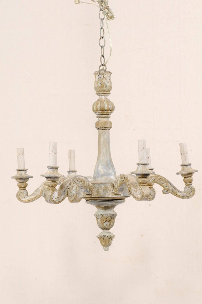 French vintage painted and carved wood six light chandelier with a vintage french painted wood six light chandelier this french chandelier from the mid aloadofball Images
