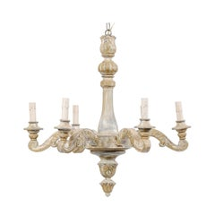 French Vintage Painted and Carved Wood Six-Light Chandelier with Scrolled Arms