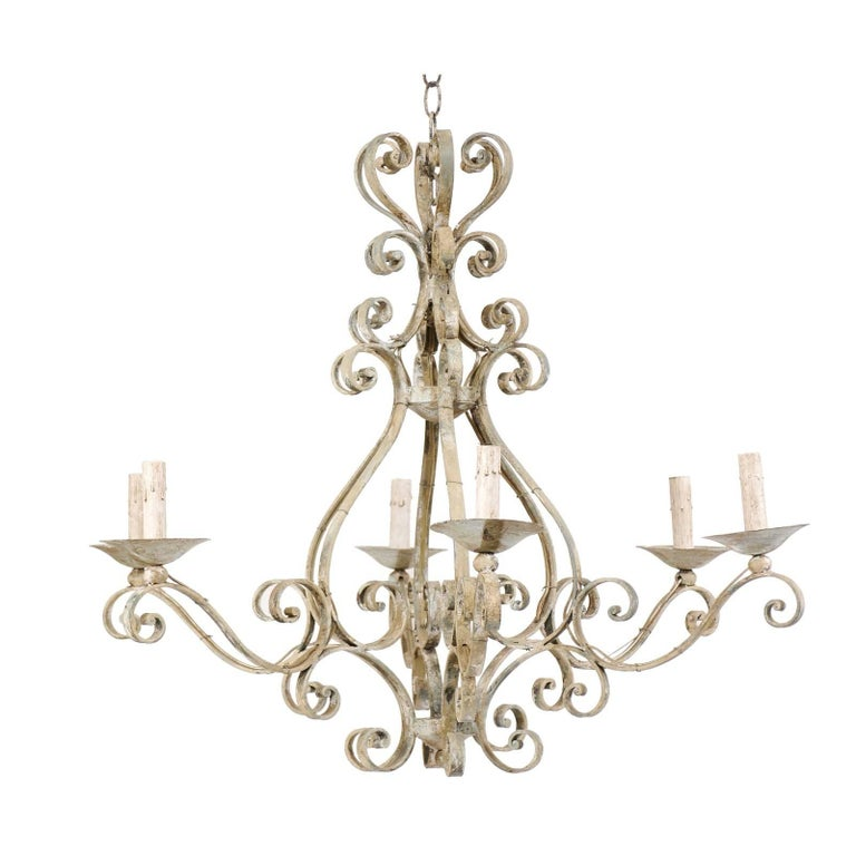 French Mid-20th Century Iron Chandelier Painted with Neutral Beige & Tan Colors
