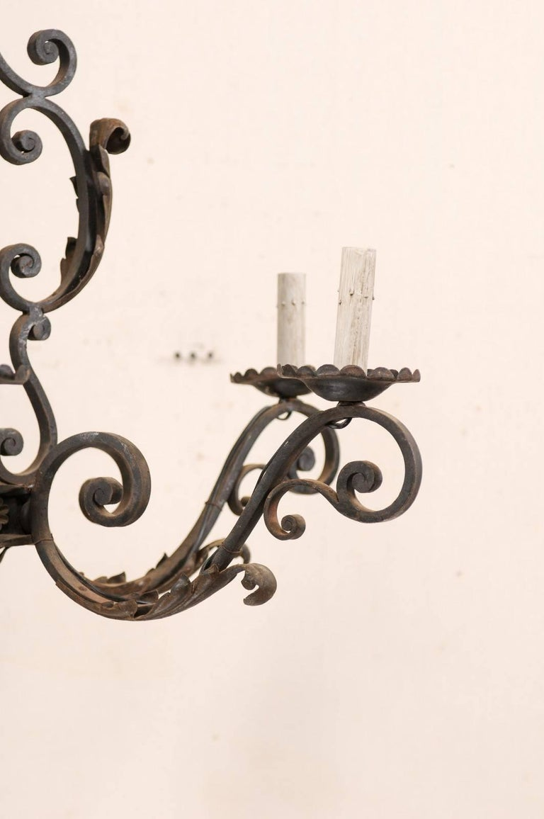 French Mid-20th Century Scrolled Iron Chandelier with Six Lights For Sale 3