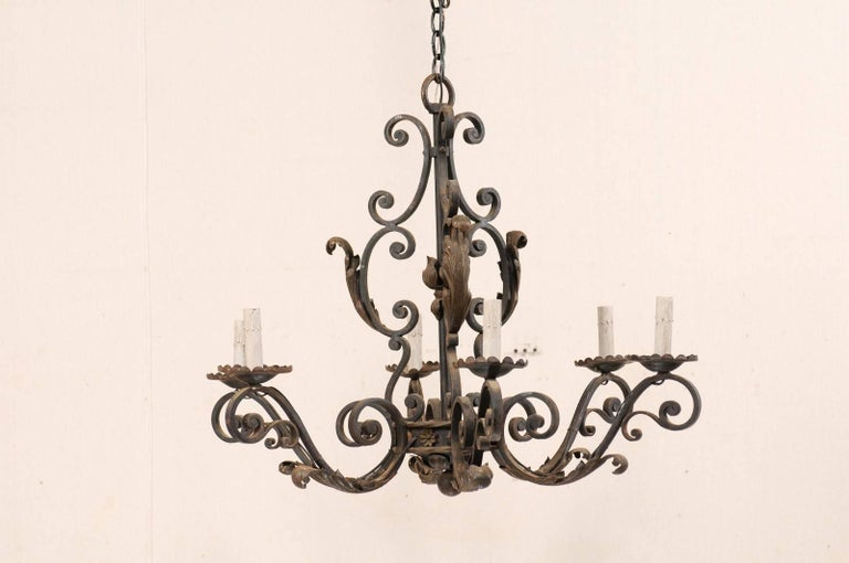 French Mid-20th Century Scrolled Iron Chandelier with Six Lights In Good Condition For Sale In Atlanta, GA