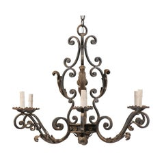 French Mid-20th Century Scrolled Iron Chandelier with Six Lights