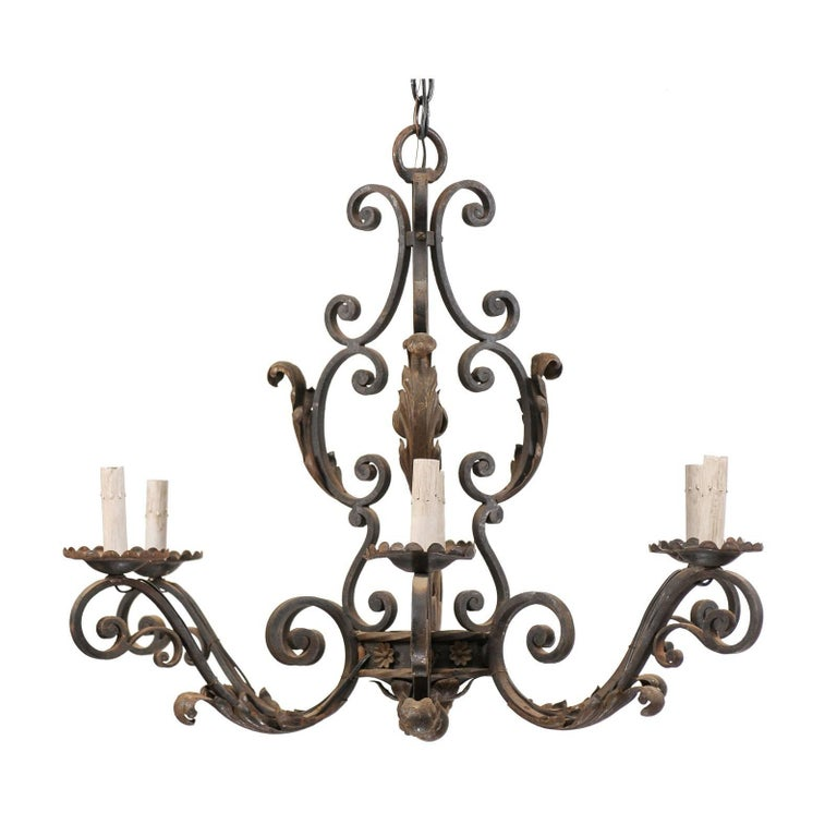 French Mid-20th Century Scrolled Iron Chandelier with Six Lights For Sale