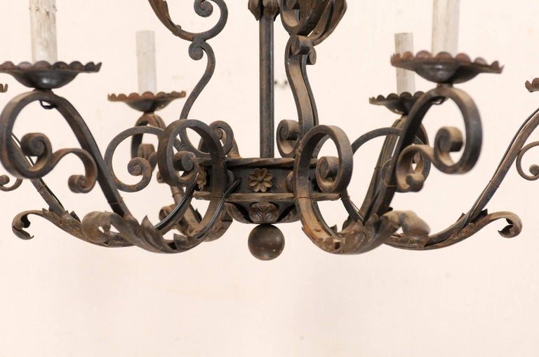 French Mid-20th Century Scrolled Iron Chandelier with Six Lights For Sale 2