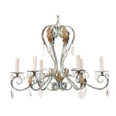 French Vintage Six-Light Iron Chandelier in Soft Sea Foam Green, Warm Accents