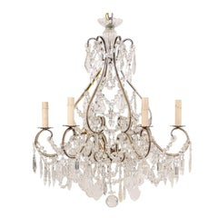 Italian Midcentury Crystal and Gilded Iron Six-Light Chandelier