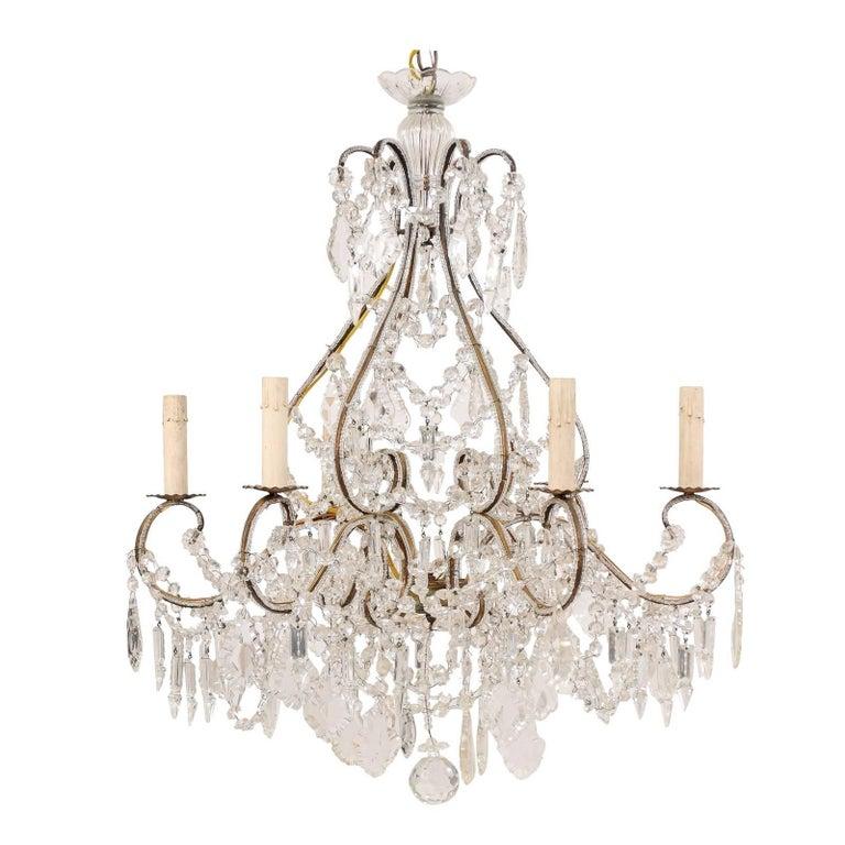 Italian Midcentury Crystal and Gilded Iron Six-Light Chandelier