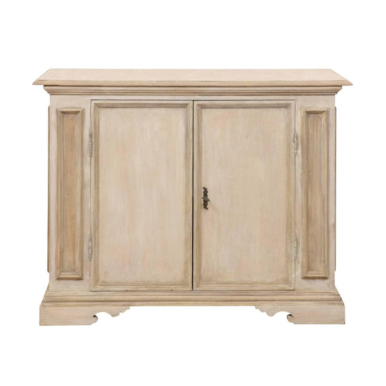 Italian Mid-20th Century Painted Wood Two-Door Cabinet in Neutral Light Beige