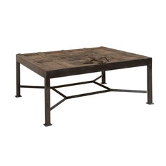 18th Century Spanish Door Fashioned into Coffee Table with Metal Base